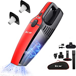 Handheld Vacuum Cordless, MECO Cordless Vacuum Rechargeable Wet and Dry 800ml Dust Box Two Speeds Adjustable, Dual Filter, Carrying Bag Included for Car Home Pet Hair