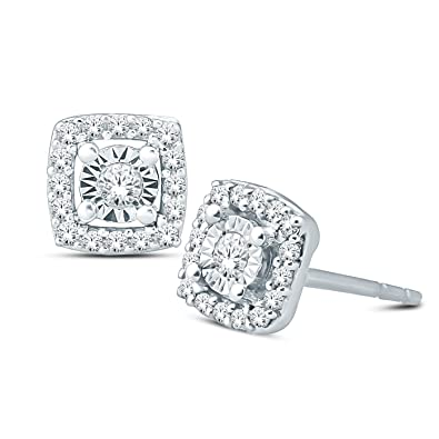 40ad282d3 1/10 ct Cushion Shaped Round Diamond Halo Stud Earrings Women 925 Sterling  Silver (
