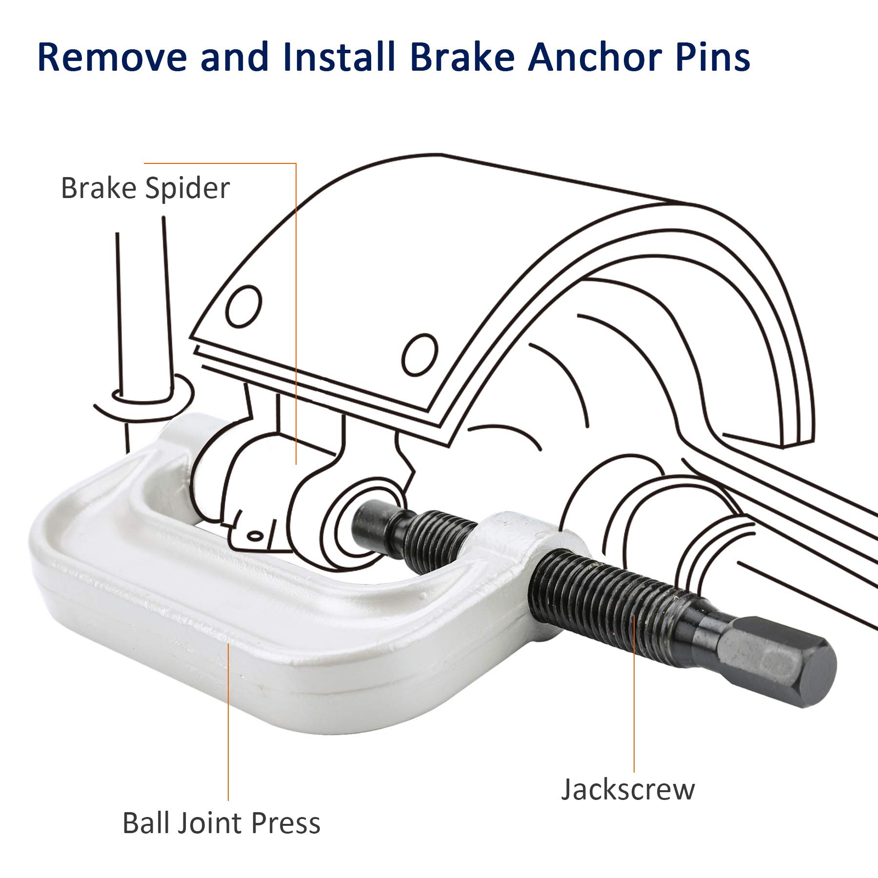 OrionMotorTech Heavy Duty Ball Joint Press & U Joint Removal Tool Kit with 4wd Adapters, for Most 2WD and 4WD Cars and Light Trucks (BK) by OrionMotorTech (Image #6)