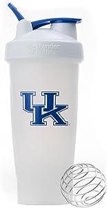 BlenderBottle Collegiate Classic 28-Ounce Shaker Bottle, University of Kentucky Wildcats - White/White