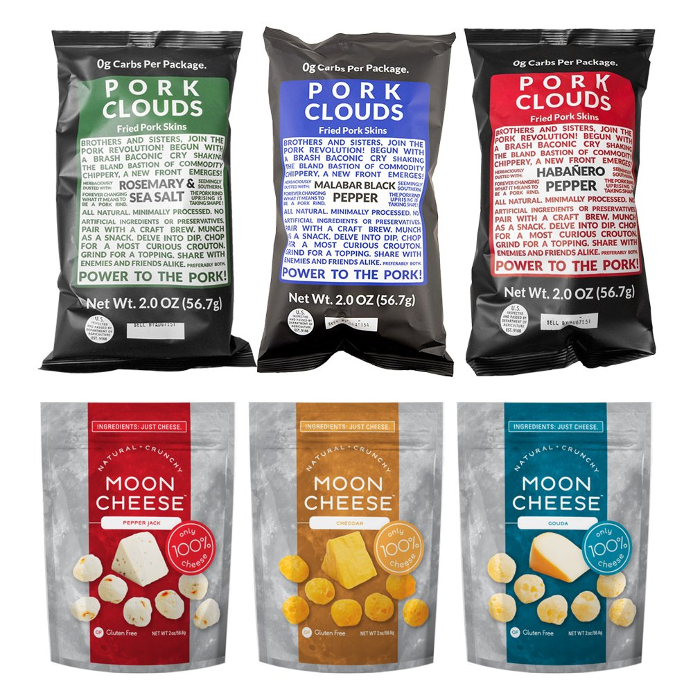 Low Carb Assortment Snack Pack: Bacon's Heir Pork Clouds and Moon Cheese