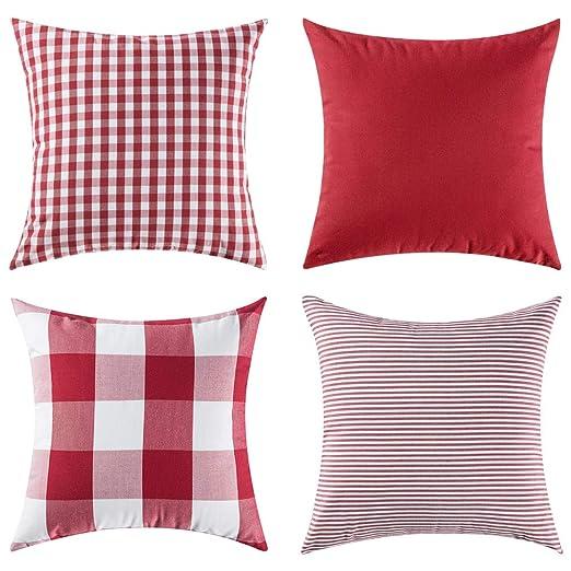 MIULEE 4pc Almohadas a Cuadros Conjunto Funda Cojin Moderno Cuadros Jardin Cama Decoracion Funda de Almohada para Sofa Cojines 18