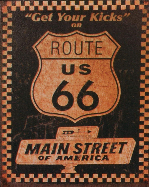Cartel de chapa de pared muestra de la ruta 66 el mural hoja