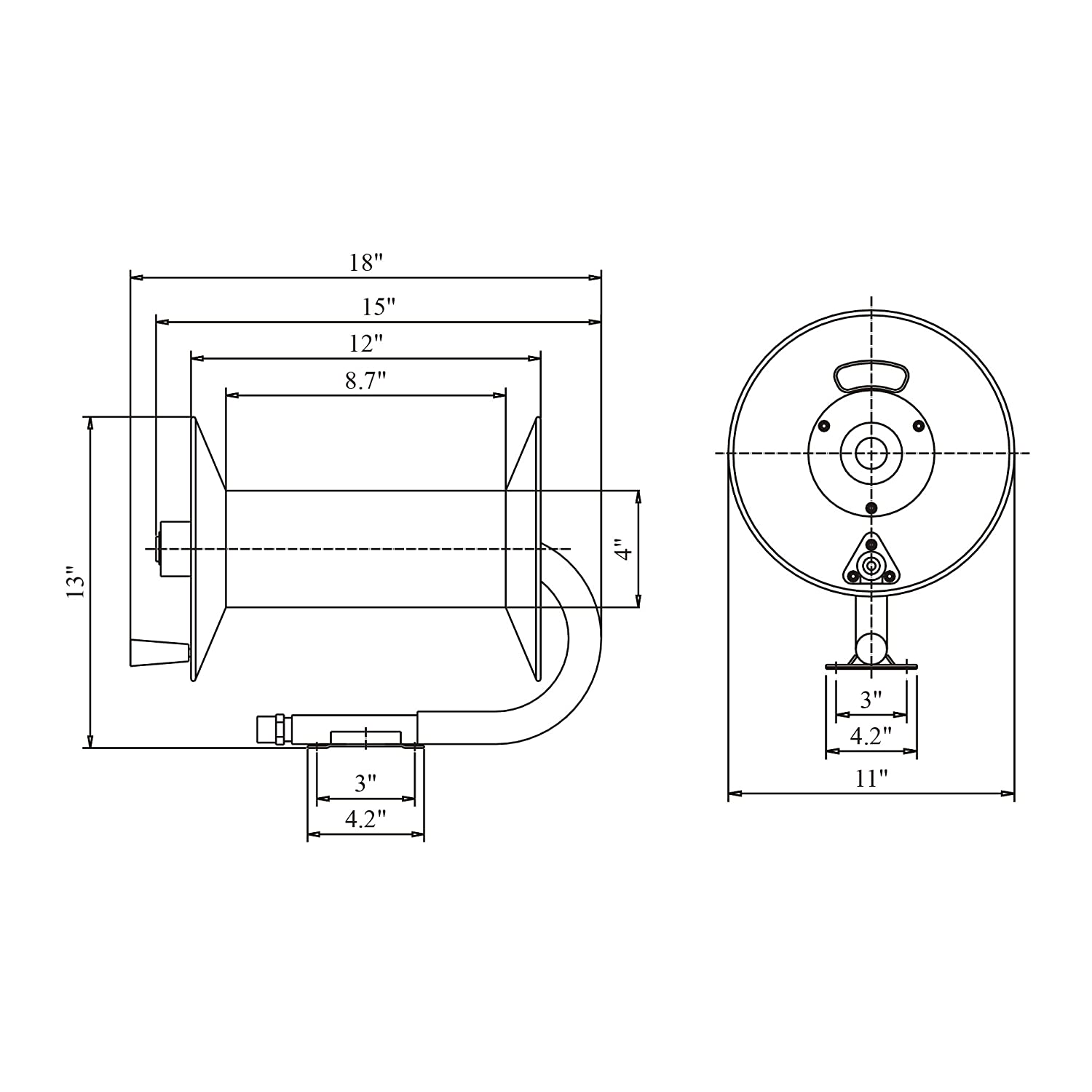 Reelworks L201303a Hand Crank Air Compressor Hose Reel Without Light Fixture Wiring Diagram Three Way 2 Griffin Contracting Industrial Scientific