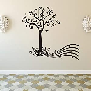 Art Wall Sticker Music Tree and Keys Notes Room Decoration Wall Decal Abstract Music Life Wall Decor Removable Poster Mural Vinyl LY74