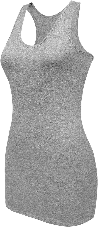 AClocod Womens Tank Top with Shelf Bra Long Cotton Cami Racerback Undershirts