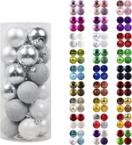 "GameXcel 24Pcs Christmas Balls Ornaments for Xmas Tree - Shatterproof Christmas Tree Decorations Large Hanging Ball Silver 3.2"" x 24 Pack"