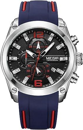 MEGIR - Reloj Impermeable de Hombre Correa de Silicona Reloj de ...