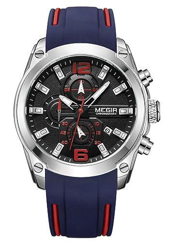 MEGIR - Reloj Impermeable de Hombre Correa de Silicona Reloj de Cuarzo Pulsera con Cronógrafo Deportivo de Moda - Azul: Amazon.es: Relojes
