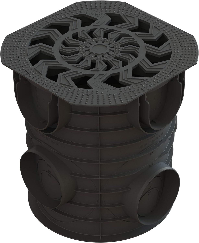 Arqueta 25x25cm redonda con tapa de plastico y cestillo