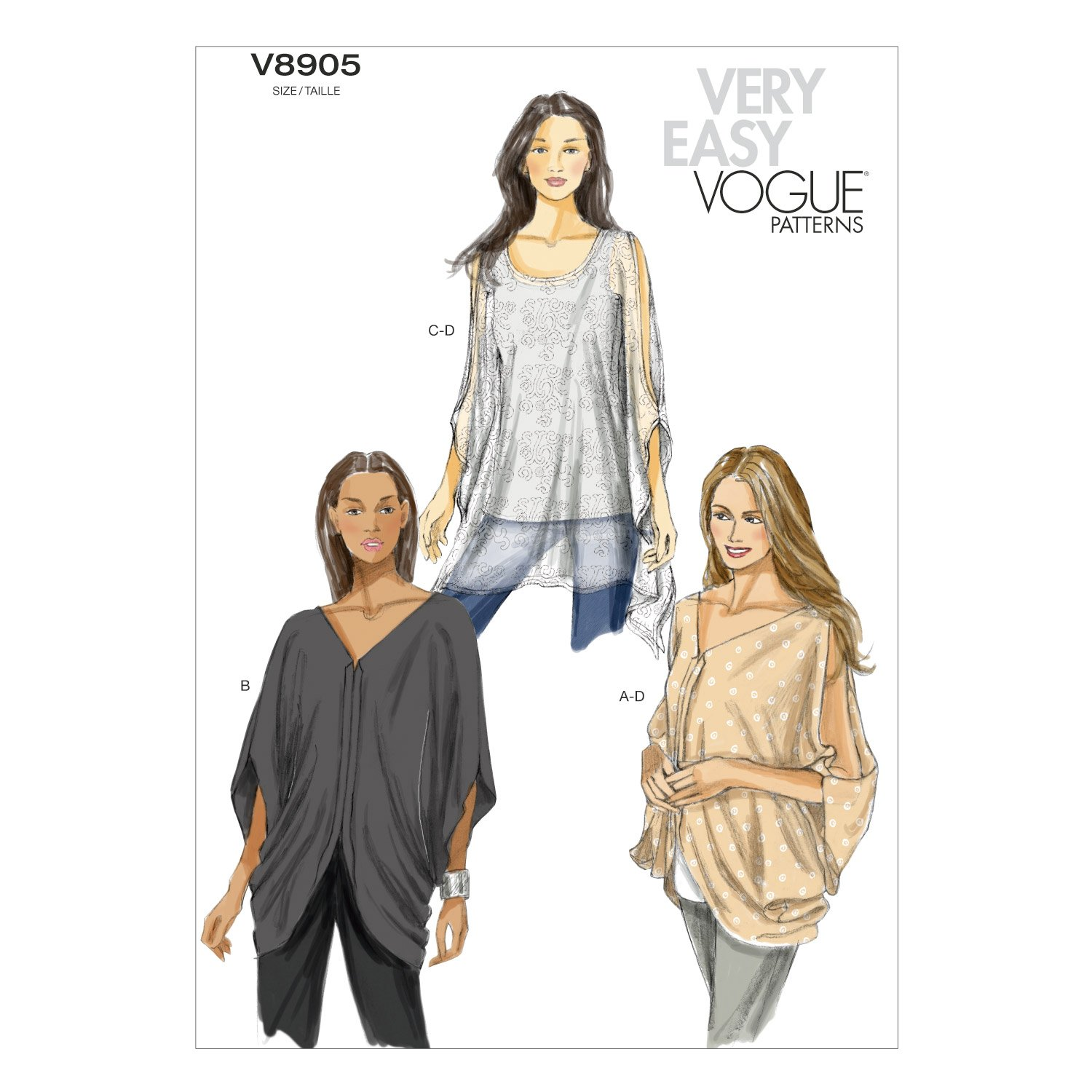 Vogue Patterns V8905 Misses' Top Sewing Template, Size Y (XSM-SML-MED) by Vogue Patterns   B00DG4GRPO