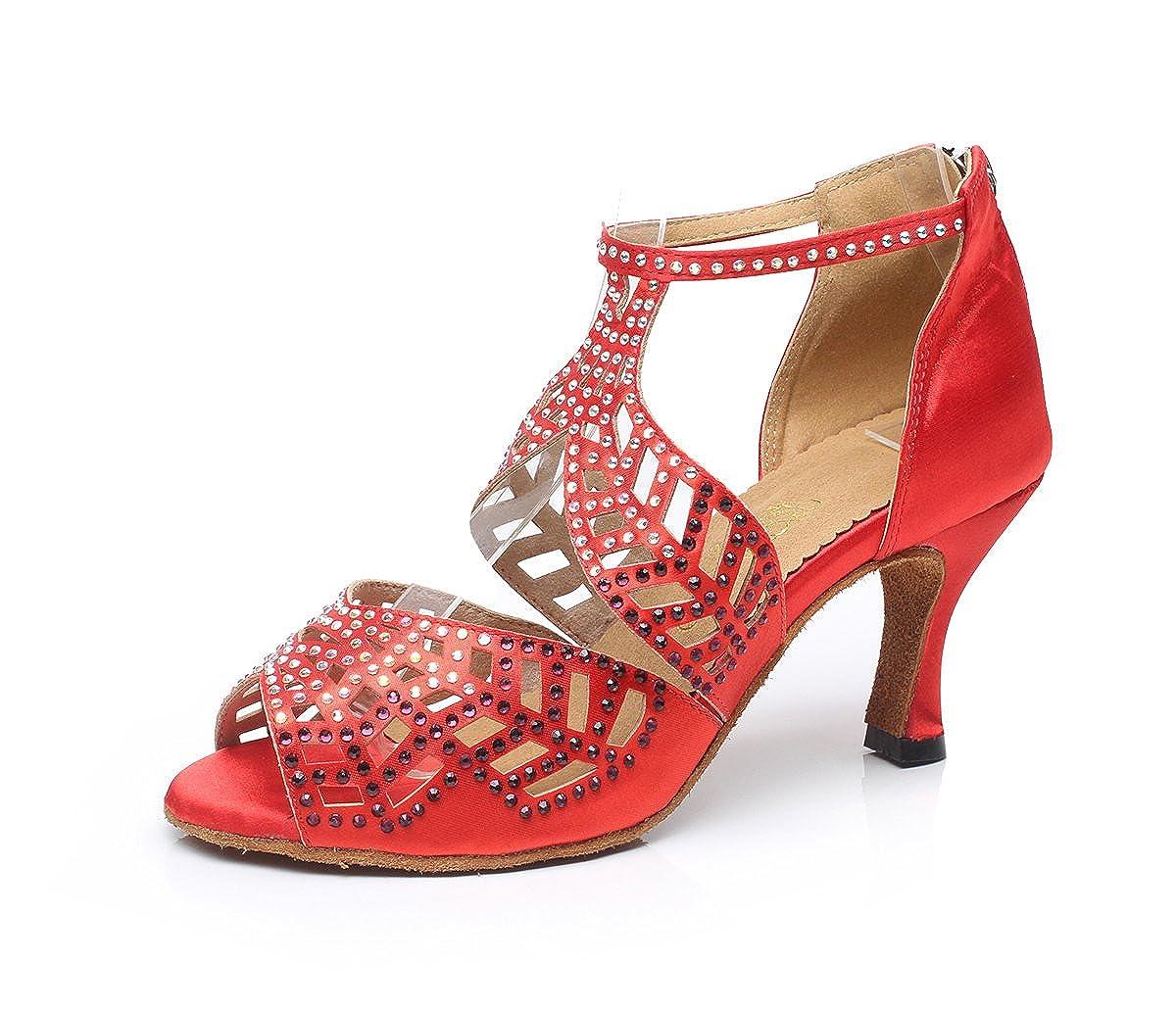 more photos 87362 db080 TDA QJ7014 Womens Crystals Satin Salsa Tango Ballroom Latin Wedding Wedding  Wedding Party Dance Shoes B00ORUODX4 Dance 58f053