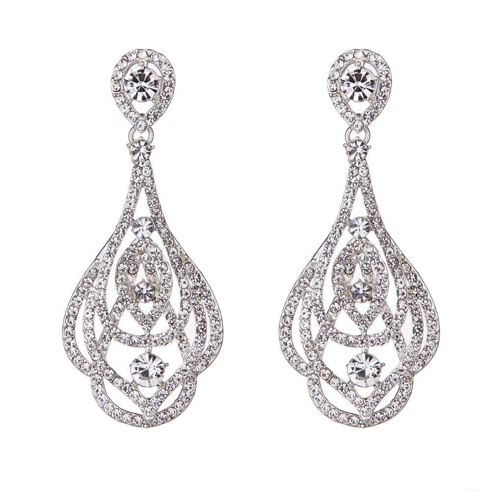 Youfir Bridal Wedding Rhinestone Earrings Dangle for Brides(Silver-tone)