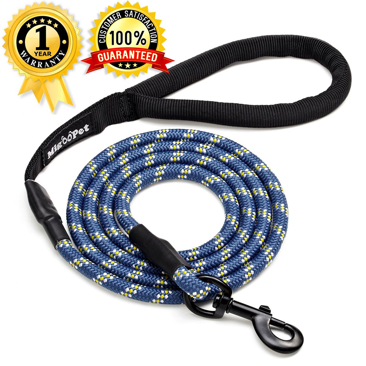 Migoo Pet Strong Heavy Duty Dog Leash Bite Proof Climbing Rope - 6 ft Small to Large Breed Dog Leash With Reflective Stitching - Comfortable Handle Walking Leash For The Largest Pulling Dogs