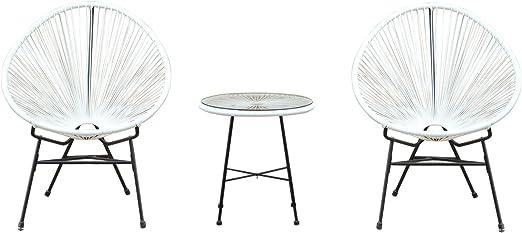 Outsunny 1571260031 - Conjunto de Muebles terraza Jardin – Color Blanco – Ratan Sintetico – 2 sillones + 1 Mesa: Amazon.es: Jardín