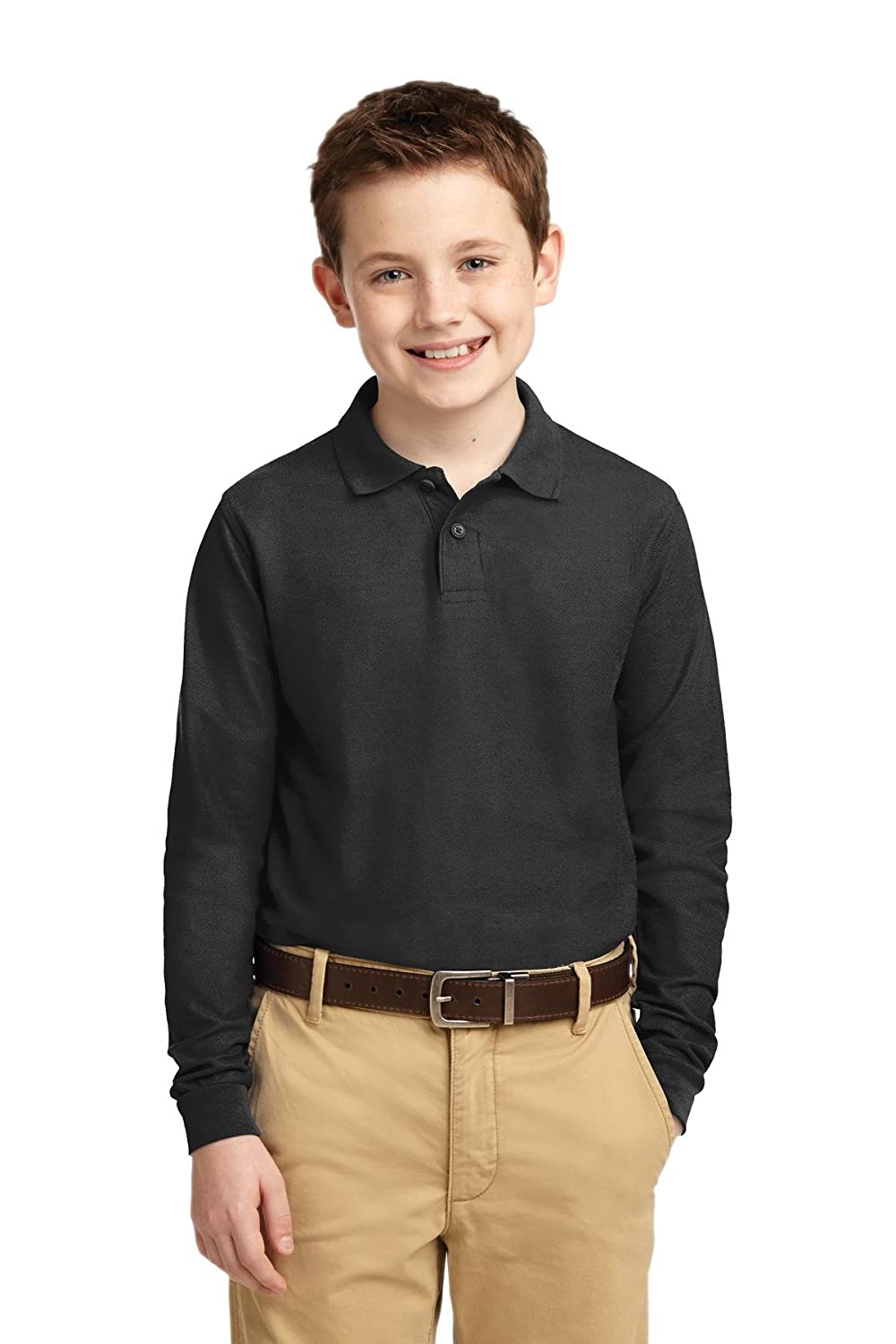 Port Authority Youth Long Sleeve Silk Touch Polo Y500LS Black S