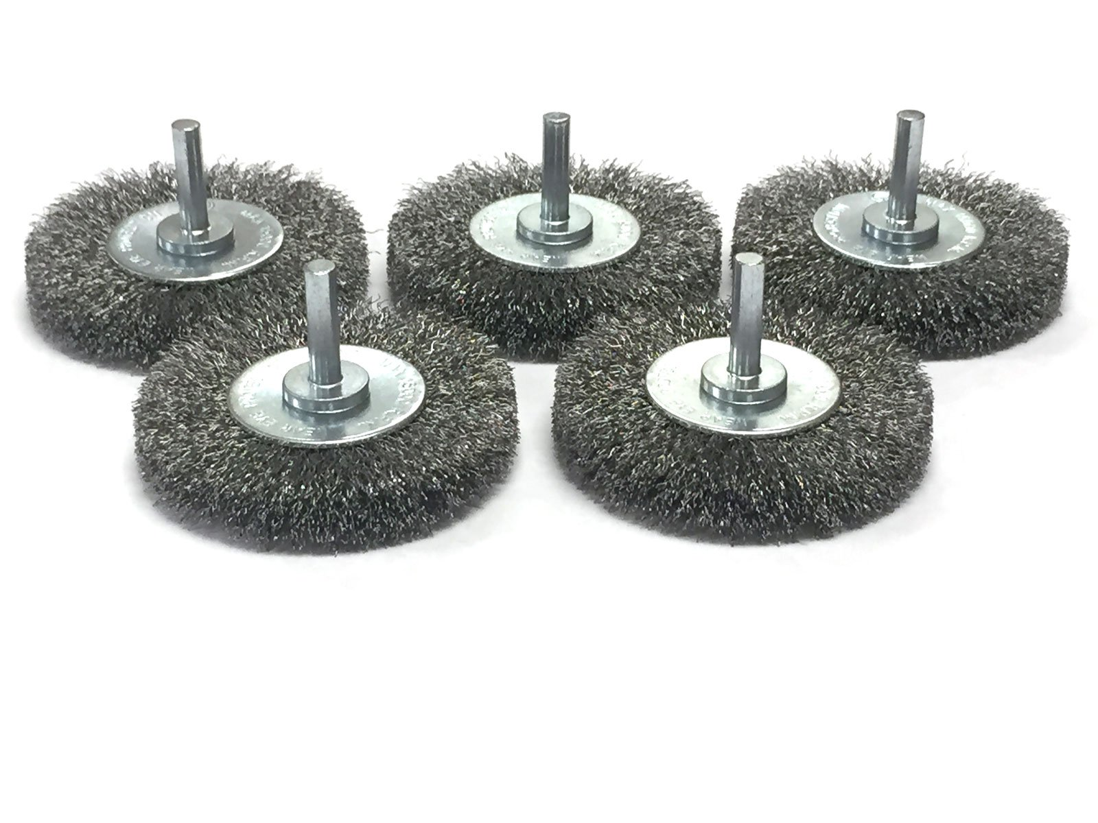 3'' Mounted Crimped Wire Wheel - Carbon Steel Wire - 5 Pack