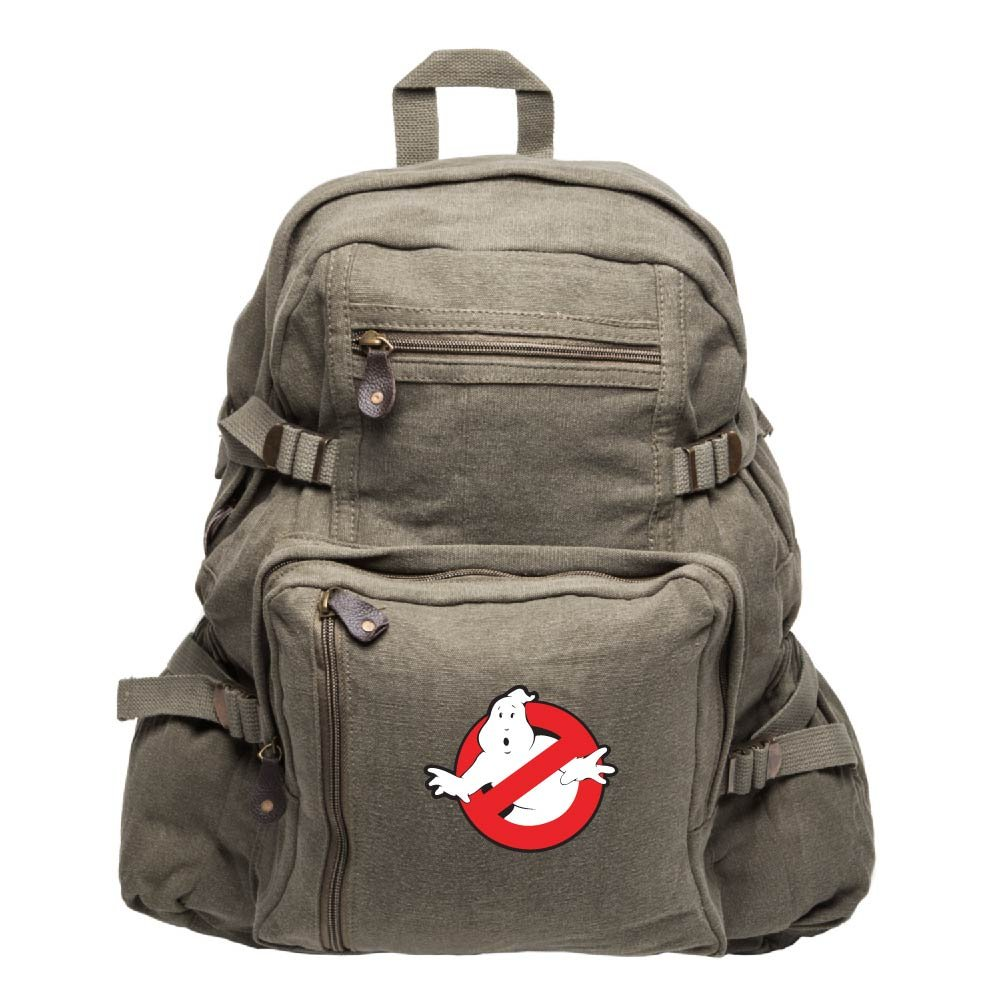 Ghostbusters Logo Army Sport Heavyweight Canvas Backpack Bag in Olive, Large