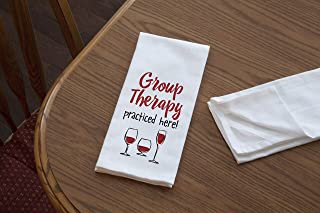 product image for Imagine Design Relatively Funny Group Therapy Practiced Here Heavy Weight 100% Cotton Kitchen Towel, Red/Black/White
