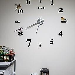 Amazon Co Jp Yiteng 3d Diy 手作り クロック 掛け時計 壁時計 ウォールクロック ウォールステッカー ローマ数字と英語 インテリア シンプル おしゃれ フリー配置 シルバーポインター ブラック ホーム キッチン
