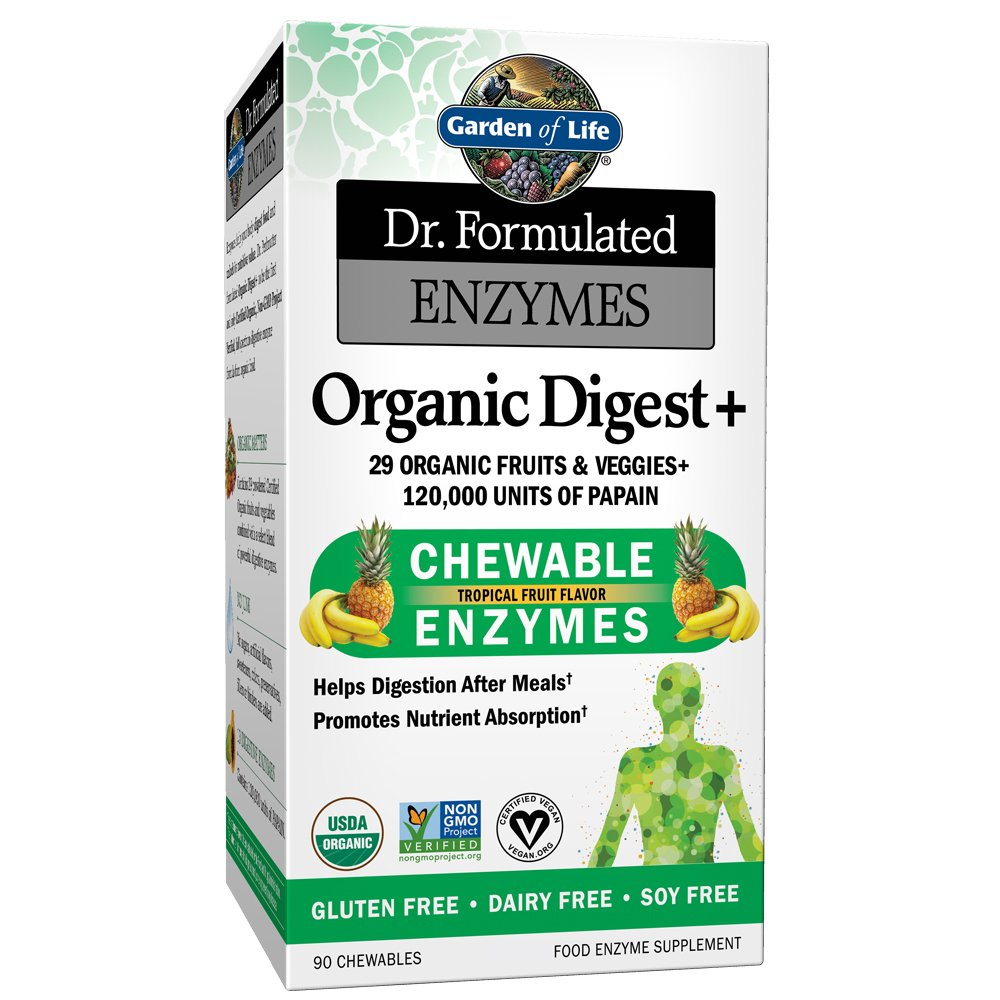 Garden of Life Organic Chewable Enzyme Supplement - Dr. Formulated Enzymes Organic Digest+, 90 Chewable Tablets by Garden of Life