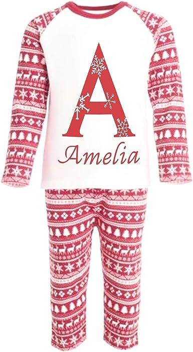 SMALL FACE WORLD Pijama de Navidad con Monograma de Letra Inicial Personalizable Caja de Navidad Personalizada para niños pequeños Rojo Rosso 7-8 Años