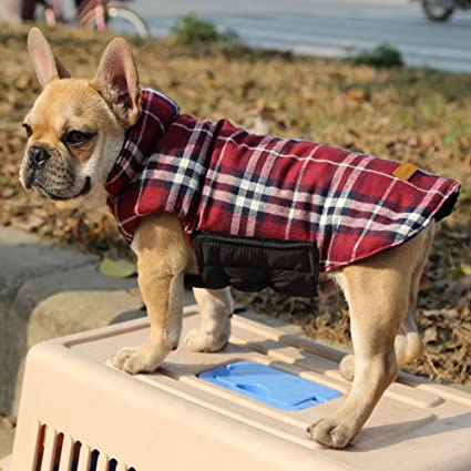 Kuoser Cozy British style Plaid Dog Vest Winter Coat Warm Dog cloth