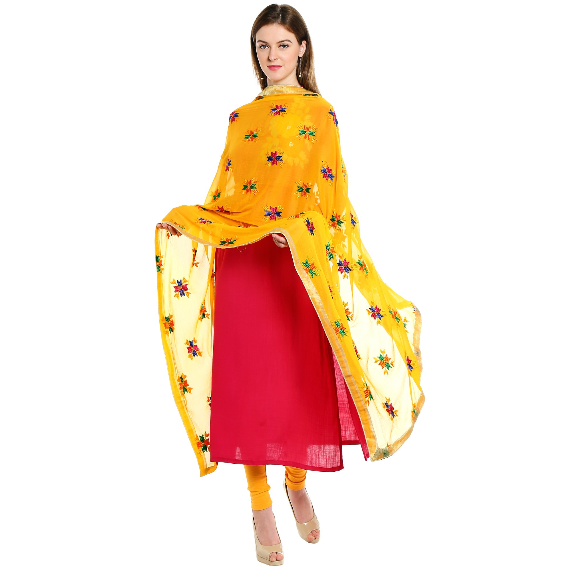 Dupatta Bazaar Indian Phulkari Embroidered Chiffon Dupatta Stole for Women/ Designer Ethnic Lace Border Scarf Shawl/Chunni,Yellow