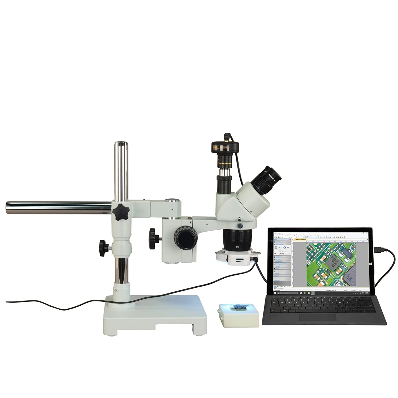 OMAX 三眼20X-40X-80X 3MPデジタルステレオシングルバーブームは56 LEDリングライトで顕微鏡スタンド   B076BBF2BW