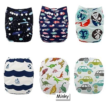 Alva Baby - Pañales de tela lavables, reutilizables (6 uds. +