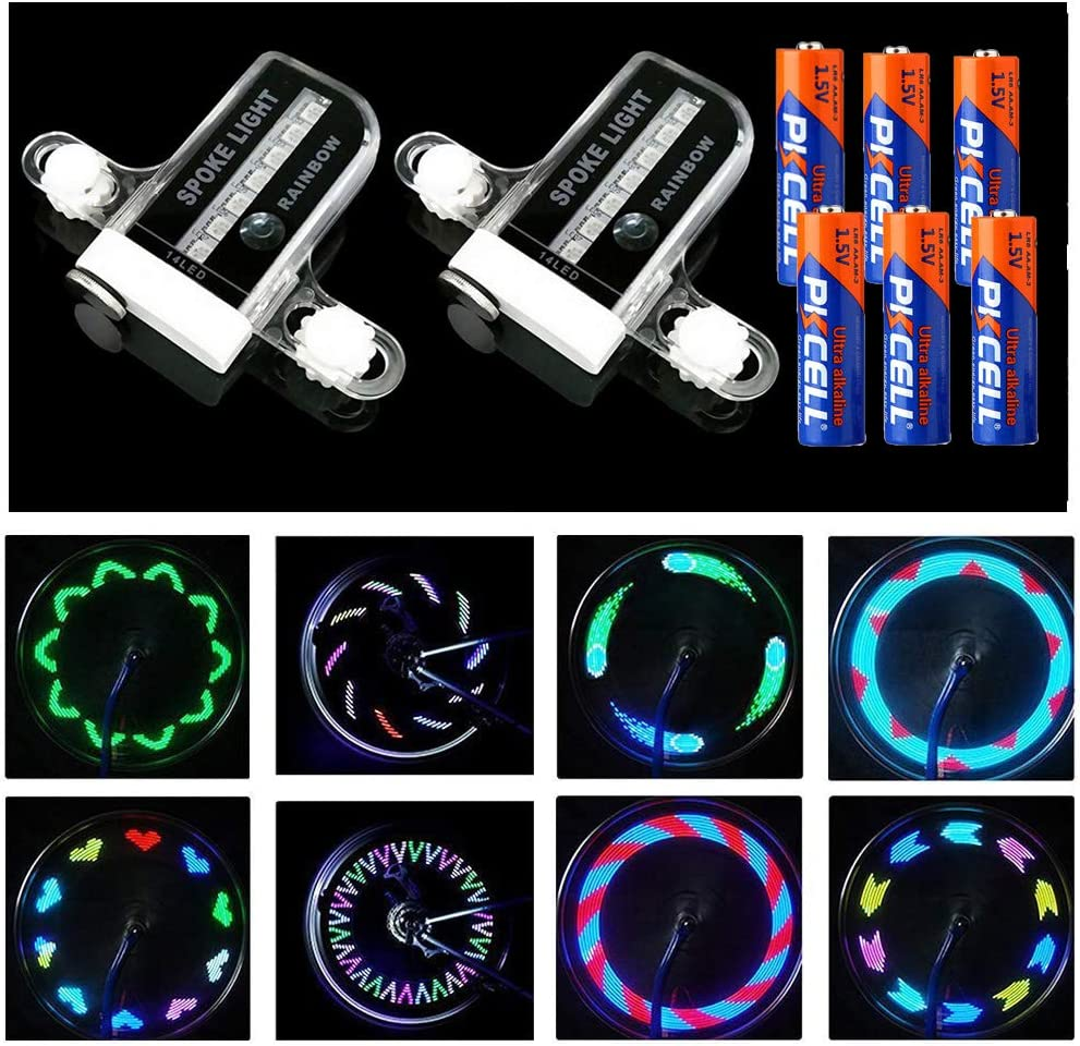 MACYWELL Bike Spoke Lights 6 Pack Led Bike Wheel Lights with Batteries Included Plus 5 Extra CR2032 Batteries Cycling Bicycle Decoration