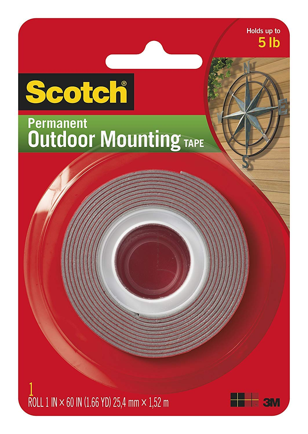 Scotch 3M 4011 Exterior Mounting Tape, 1 in x 60 in (2 Rolls)