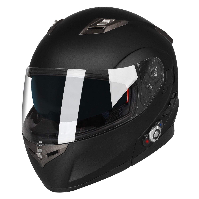 Range 500M,2-3Riders Pairing,FM radio,Waterproof,L,Matte Black Motorcycle Bluetooth Helmets,FreedConn Flip up Dual Visors Full Face Helmet,Built-in Integrated Intercom Communication System