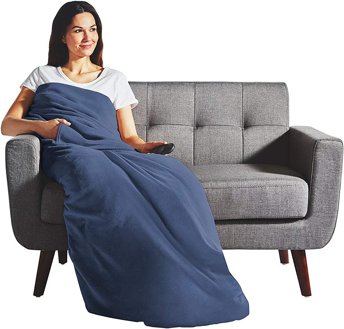 Sunbeam Heated Throw Blanket | Dual Pocket Microplush, 3 Heat Settings, Newport Blue - 31160304