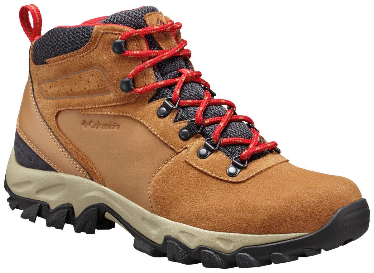 Columbia Men's Newton Ridge Plus II Suede Waterproof Boot, Breathable with High-Traction Grip Hiking, elk, mountain red, 8 Regular US