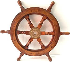 "18"" Ship Wheel Wooden Brass Pirate Boat Nautical Wall Home Decor"