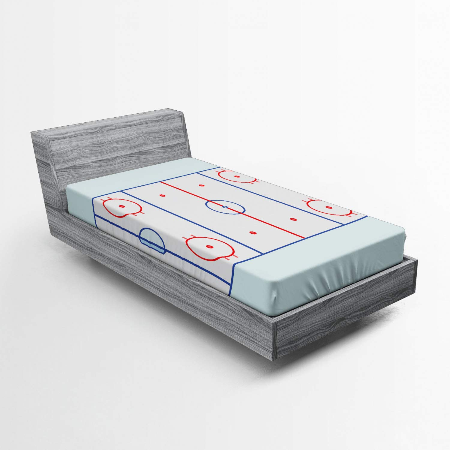 Ambesonne Hockey Fitted Sheet, Ice Hockey Field in Blue Tones and Red Graphic Outline for Sport Events, Soft Decorative Fabric Bedding All-Round Elastic Pocket, Twin Size, Pale Blue