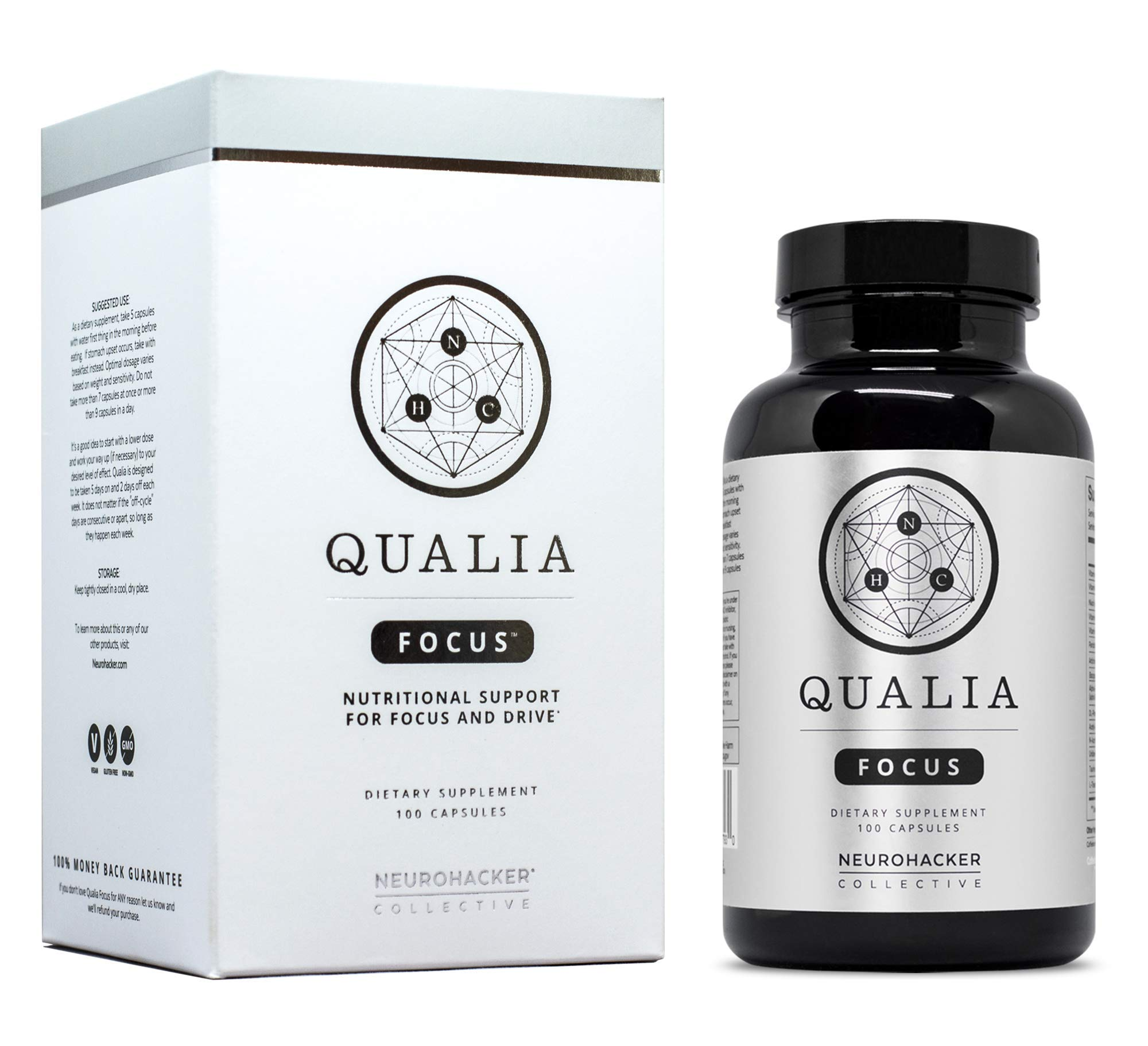 Qualia Focus Nootropics | The Brain Supplement for Focus, Supporting Memory, Mental Clarity, Energy, Reasoning, and Concentration with Ginkgo biloba, Bacopa monnieri, Celastrus, Rhodiola rosea & More