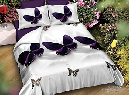 Shopcrats 3D  Butterfly Printed Double Bedsheet With 2 Pillow Coverss.