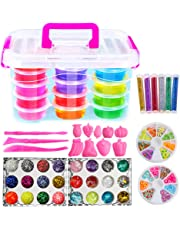 QMAY Slime Kit, 12 Colors Crystal Clear Slimes Clay Putty Mud, Glitter Sheet Jars, Shell Paper, Sequins, 8 Pieces of Soft Ceramic Slices …