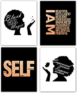 """Modern Fashion Inspirational Quotes Black African American Woman Girl Art Painting Set of 4 (8""""X10"""" Canvas Picture) Magic Black Girl Spa Bathroom Girls Bedroom Living Room Home Decor ,No Frame"""
