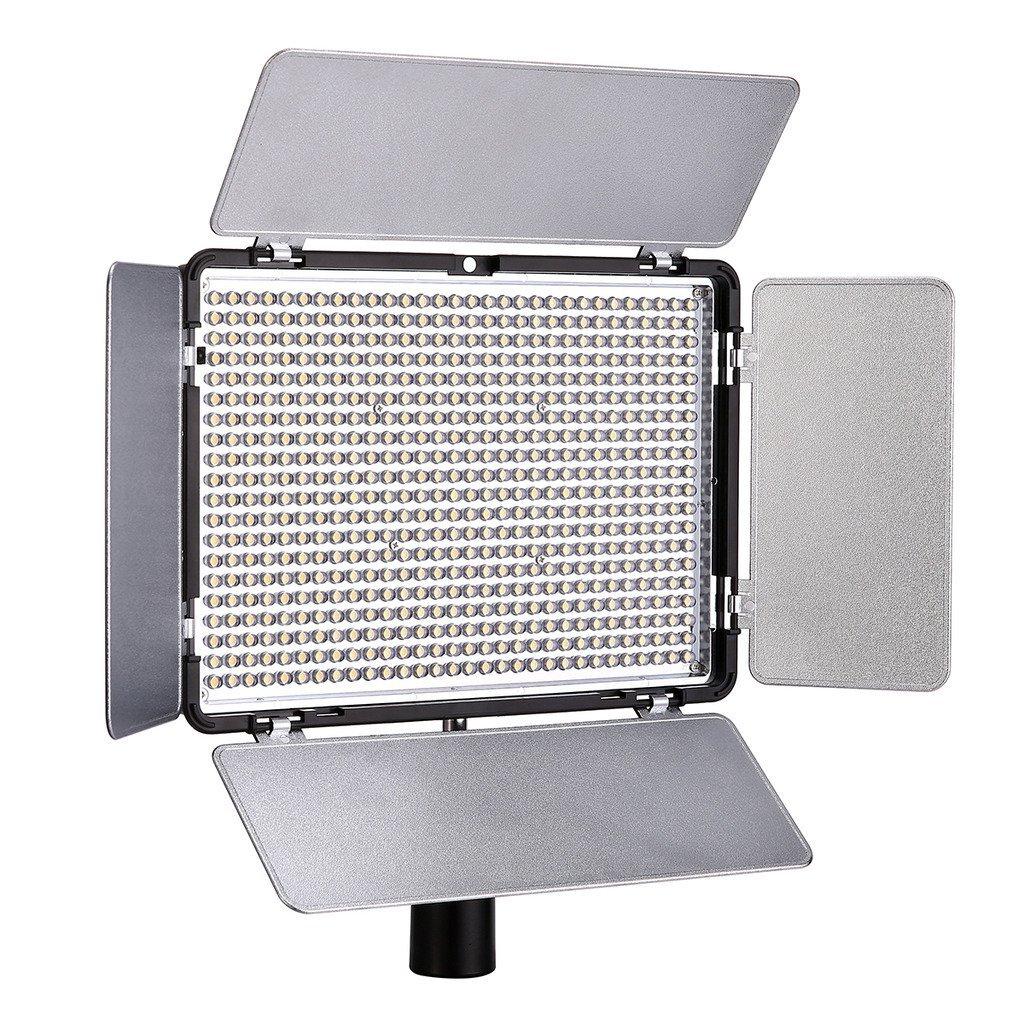 Polaroid Studio 1008 LED Video Box Light - BI-Color w/ LCD Display, IR Remote Control, Rechargeable NP-F550 Li-Ion Battery & Barn Doors - Adjustable Brightness & Color Temperature