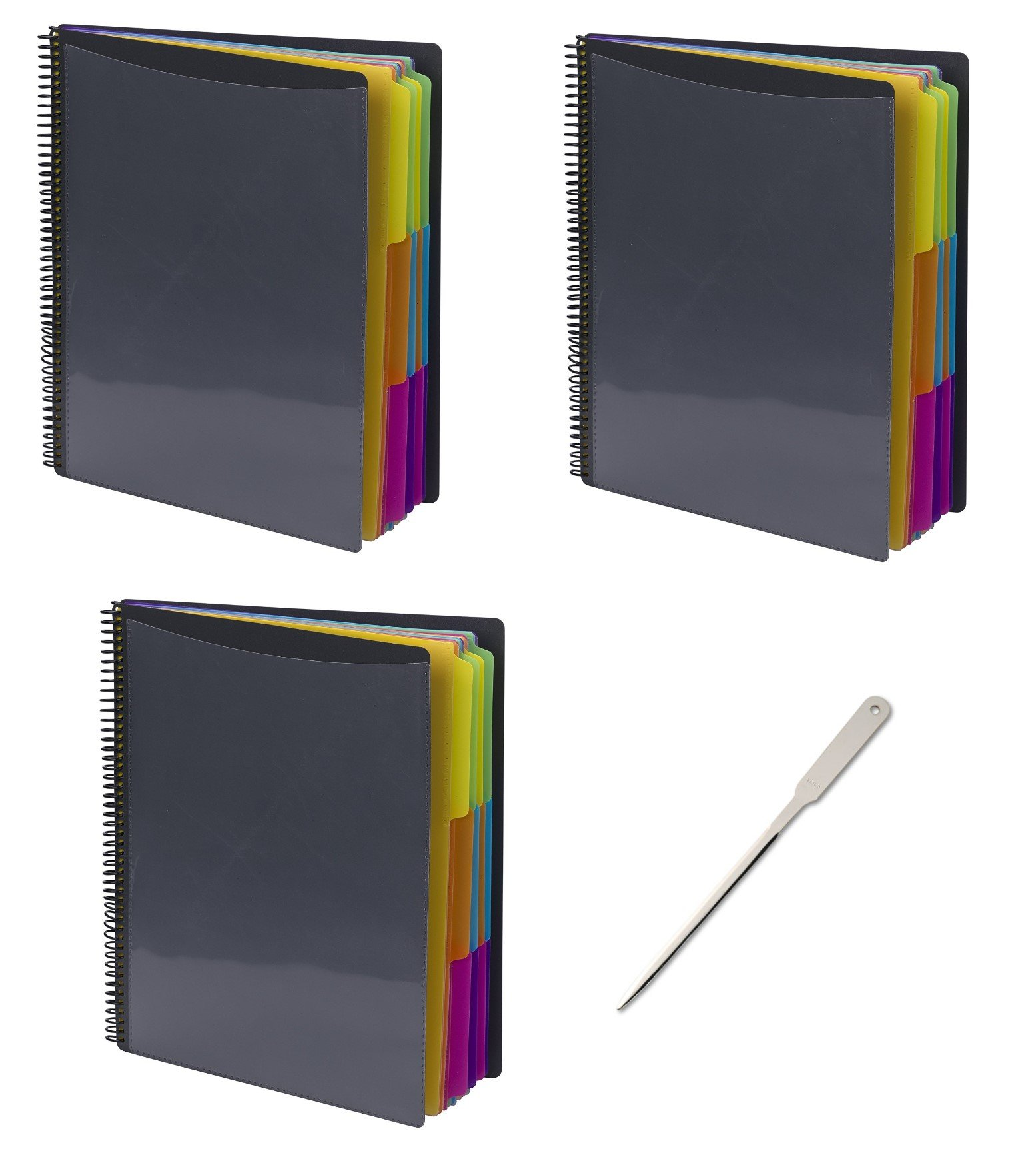 Smead 24 Pocket Poly Project Organizer, Letter Size, 1/3-Cut tab, Gray with Bright Colors, 3 Pack (89206) - Bundle Includes a Letter Opener by Smead (Image #1)