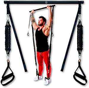 Fit Kynd Pilates Bar with Resistance Bands - Premium | Portable Home Workout Equipment for Men/Women | at Home Workout Resistance Bands | Adjustable Length Resistance Band Straps | Full Body Workout