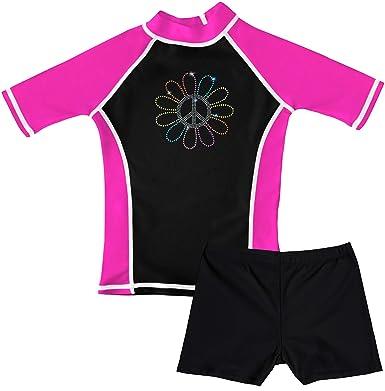 6288f9d76a58e grUVywear Girls Rashguard and Shorts Swimsuit Set UPF 50 Sun Protective  Swimwear - Floral Peace