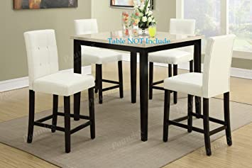 Set Of 4 Bar Stools White Faux Leather Parson Counter Height Chairs With  High Back And