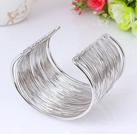 Amazon.com: Yueton Silvertone Rigid Steel Memory Wire Metal Circle ...