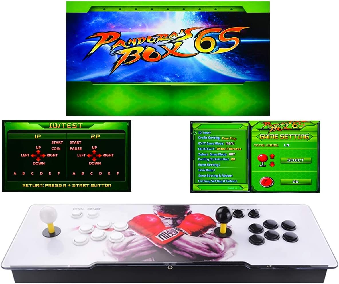 TAPDRA Máquina de vídeo clásica, 2 jugadores Pandora Box 6S Home Arcade Consola 1399 Juegos Todo en 1, Doble Stick