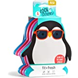 Fit & Fresh Cool Coolers, Slim Ice Packs for Lunch Boxes, Bags and Coolers, Penguin Shapes for Kids, Set of 4…