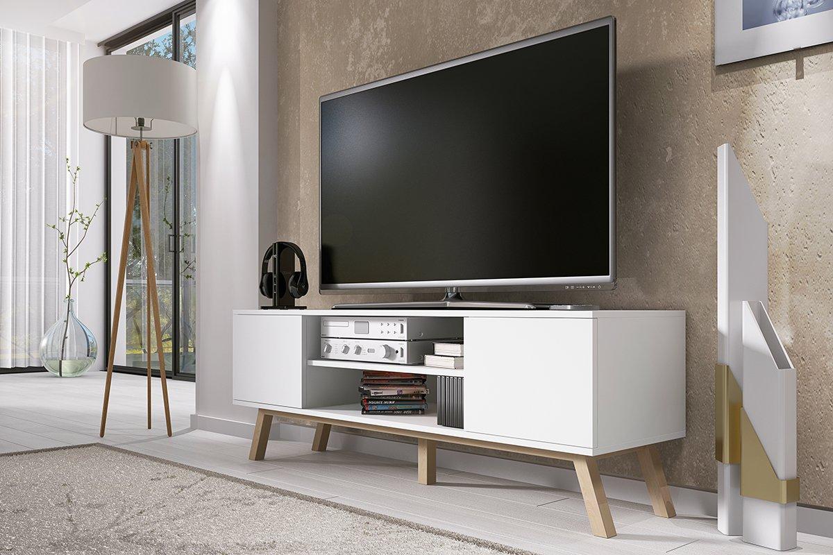 Vero Bois Meuble Tv Moderne 150 Cm Corpus Blanc Mat Front  # Meuble Tv Vero